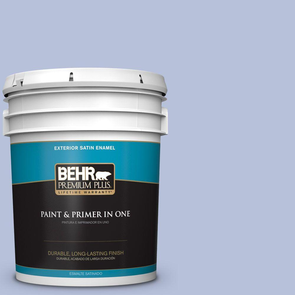 5 gal. #610C-3 Virginia Blue Satin Enamel Exterior Paint