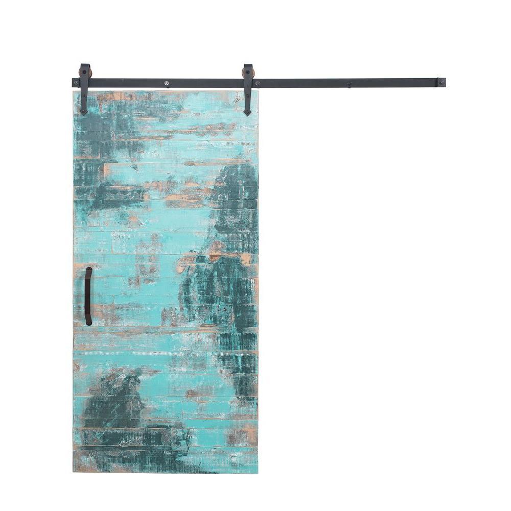 Rustica Hardware 36 inch x 84 inch Reclaimed Aqua Wood Barn Door with Arrow... by Rustica Hardware