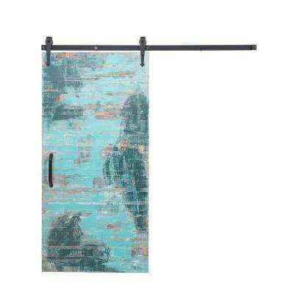 36 in. x 84 in. Reclaimed Aqua Wood Barn Door with Arrow Sliding Door Hardware Kit