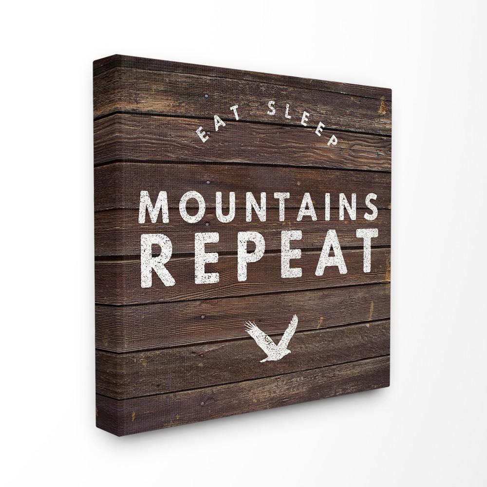 30 In X Dark Wood Eat Sleep Mountains Repeat Typography By Artist Beth Albert Canvas Wall Art