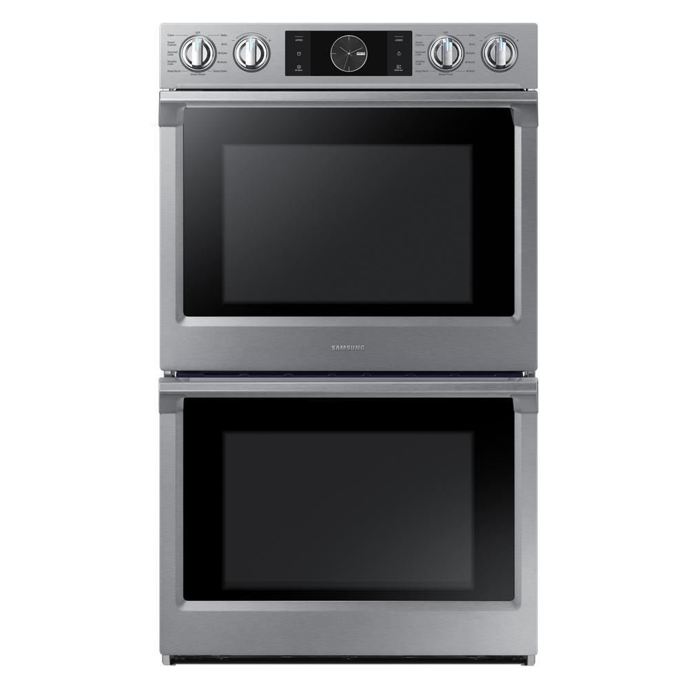Samsung 30 in. Double Electric Wall Oven with Steam Cook, Flex Duo and Dual Convection in Stainless Steel