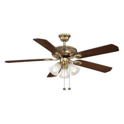 Glendale II 52 in. Indoor Flemish Brass Ceiling Fan with Light Kit