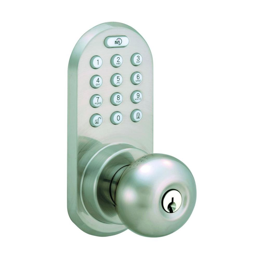 Satin Nickel Touch Pad and Remote Electronic Entry Knob