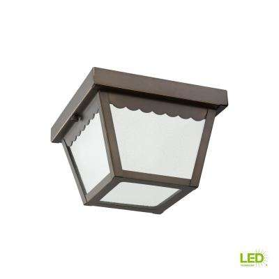 Outdoor Ceiling Antique Bronze 1-Light Outdoor Flush Mount with LED Bulb