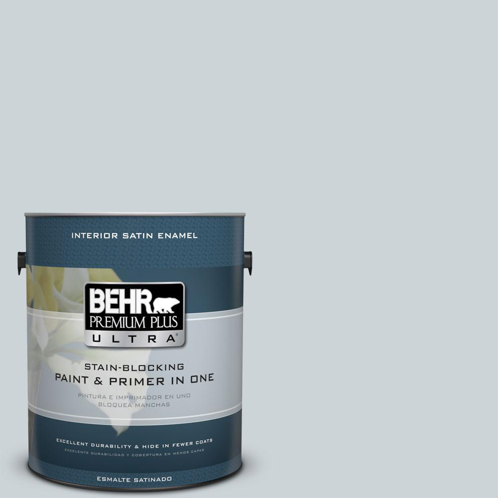 BEHR Premium Plus Ultra 1-gal. #N470-1 Ash Blue Satin Enamel Interior Paint
