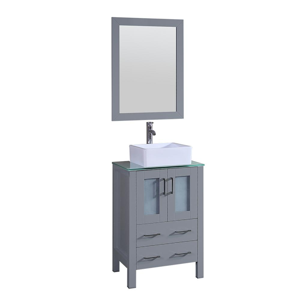 Bosconi 24 in. W Single Bath Vanity with Tempered Glass Vanity Top in Green with White Basin and Mirror