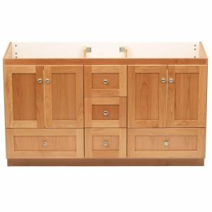 Simplicity by Strasser Shaker 60 inch W x 21 inch D x 34.5 inch H Vanity for Double Basins Cabinet Only in Natural Alder by Simplicity by Strasser