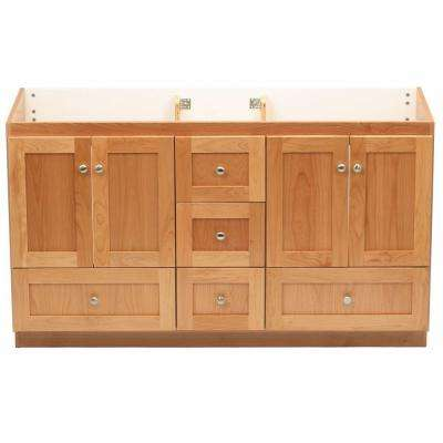 Shaker 60 in. W x 21 in. D x 34.5 in. H Vanity for Double Basins Cabinet Only in Natural Alder