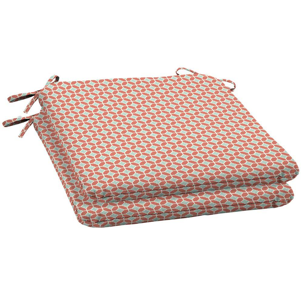 Arden Genova Coral Wrought Outdoor Iron Seat Pad 2 Pack-DISCONTINUED