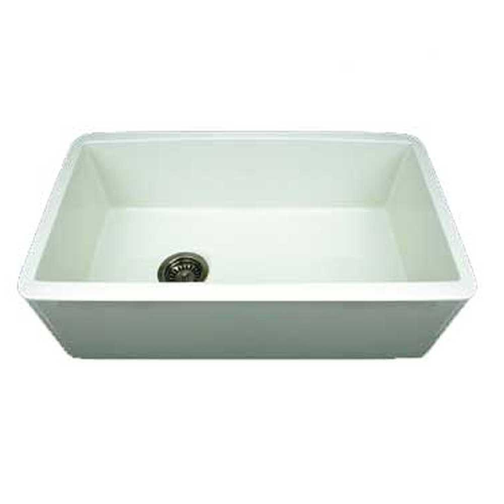 Whitehaus Collection Duet Reversible Farmhaus Apron Front Fireclay 30 In.  Single Bowl Kitchen Sink In