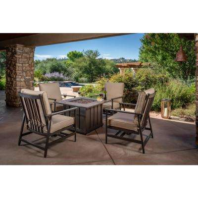Hillcrest 5 Piece Aluminum Patio Fire Pit Conversation Set With Sunbrella Method Stone Cushions