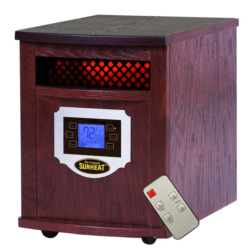 Sunheat 1500-Watt Infrared Electric Portable Heater with Remote Control, LCD Display and Made in USA Cabinetry - Mahogany