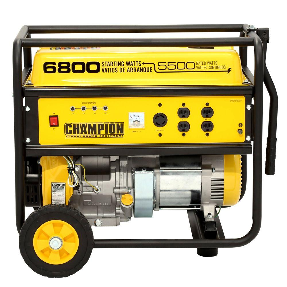 Champion Power Equipment 5,500-Watt/6,800-Watt Recoil Start Gasoline Powered Portable Generator