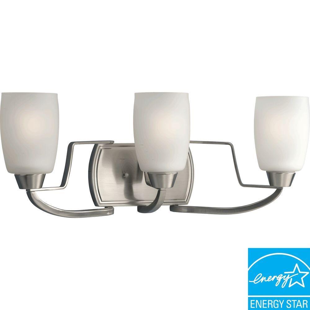 Progress Lighting Wisten Collection 3-Light Brushed Nickel Fluorescent Vanity Fixture