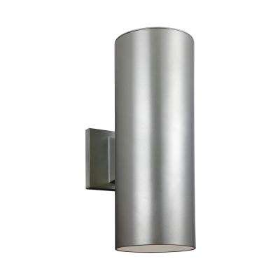 Outdoor Cylinders 2-Light Painted Brushed Nickel Outdoor Wall Lantern Sconce with LED Bulbs
