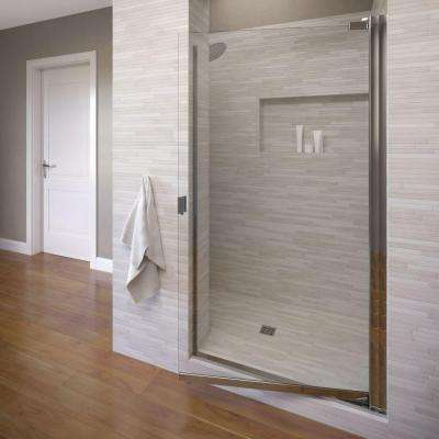 Classic 34-1/4 in. x 66 in. Semi-Frameless Pivot Shower Door in Silver with Clear Glass