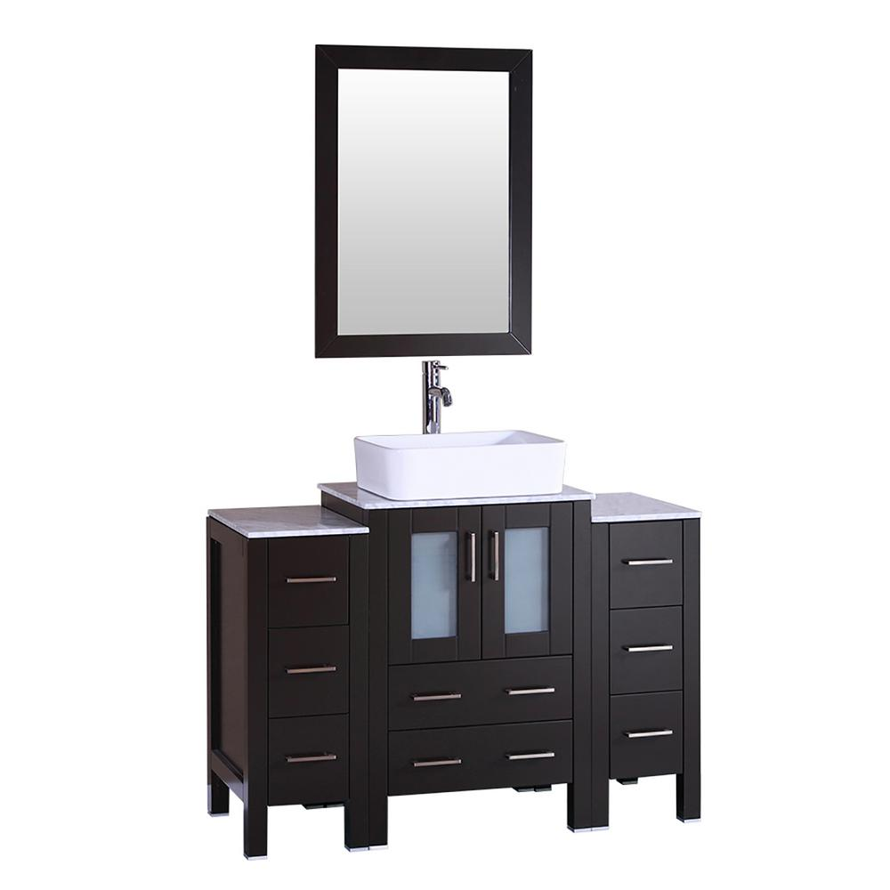 48 In W Single Bath Vanity With Carrara Marble Vanity Top In Gray With White Basin And Mirror