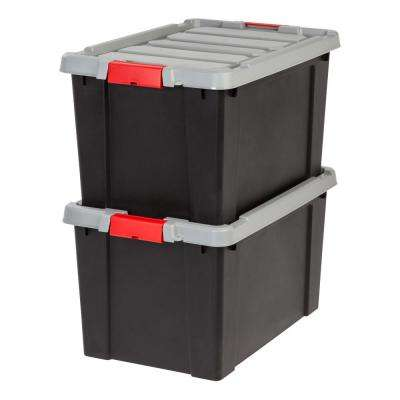 18 Gal. Store-It-All Storage Bin in Black (2-Pack)