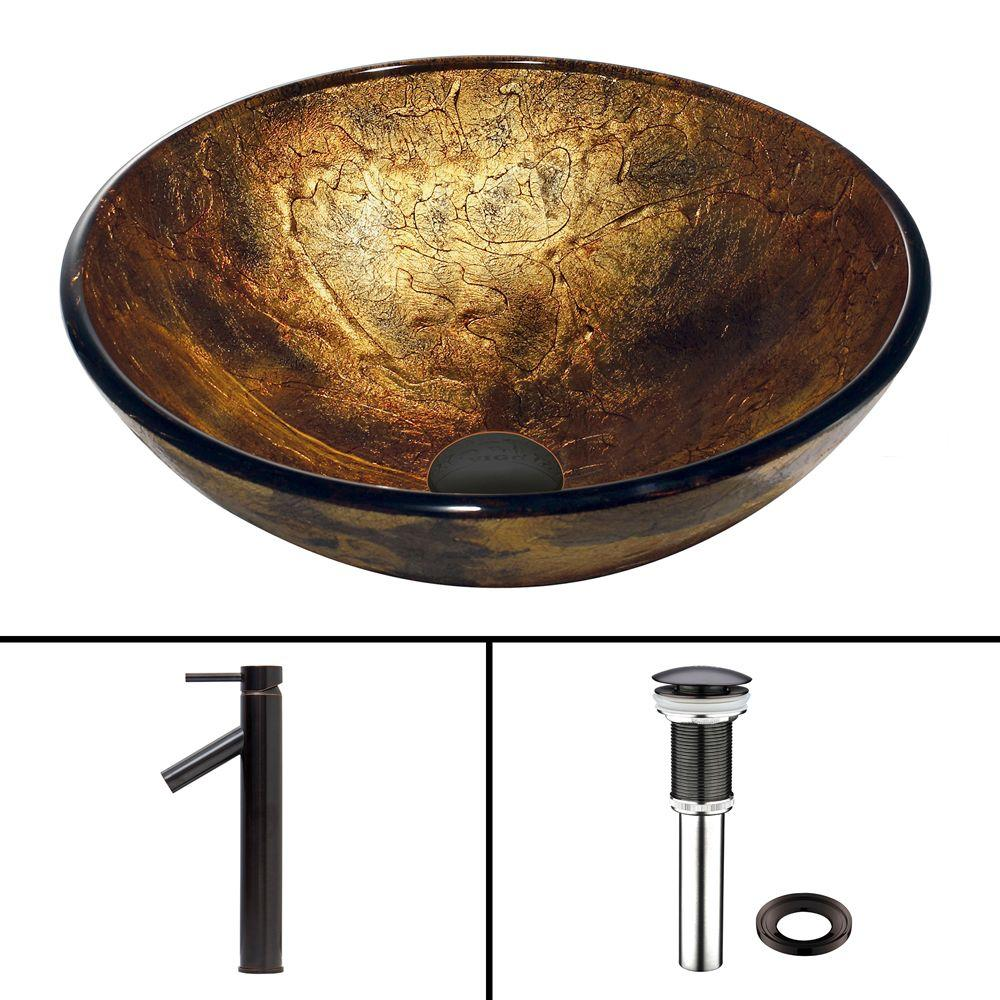 VIGO Glass Vessel Sink in Copper Shapes and Dior Faucet Set in Antique Rubbed Bronze