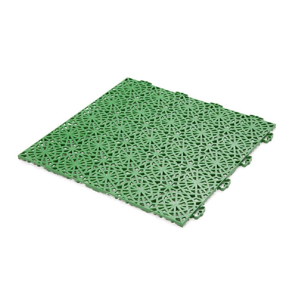 XL Tiles 14.9 in. x 14.9 in. PVC Deck Tiles in Spring Grass, 35-Tiles per case, 54 Sq. Ft.