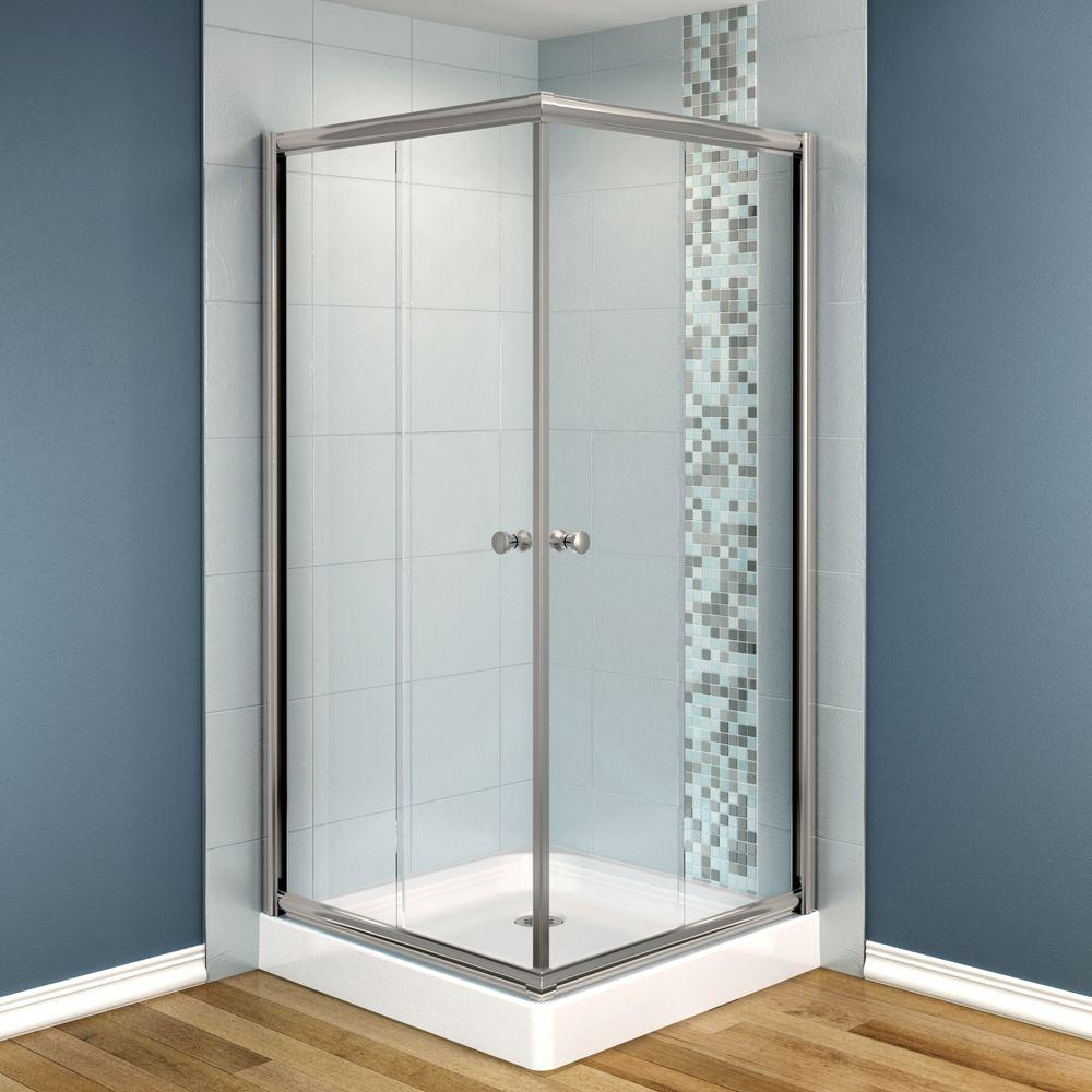 MAAX Centric 32 in. x 32 in. x 70 in. Frameless Corner Shower Door in Clear Glass and Nickel Finish-DISCONTINUED