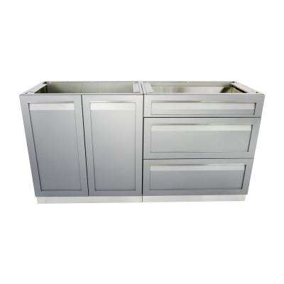 Stainless Steel 2 Piece 64x35x22.5 In. Outdoor Kitchen Cabinet Set With  Powder