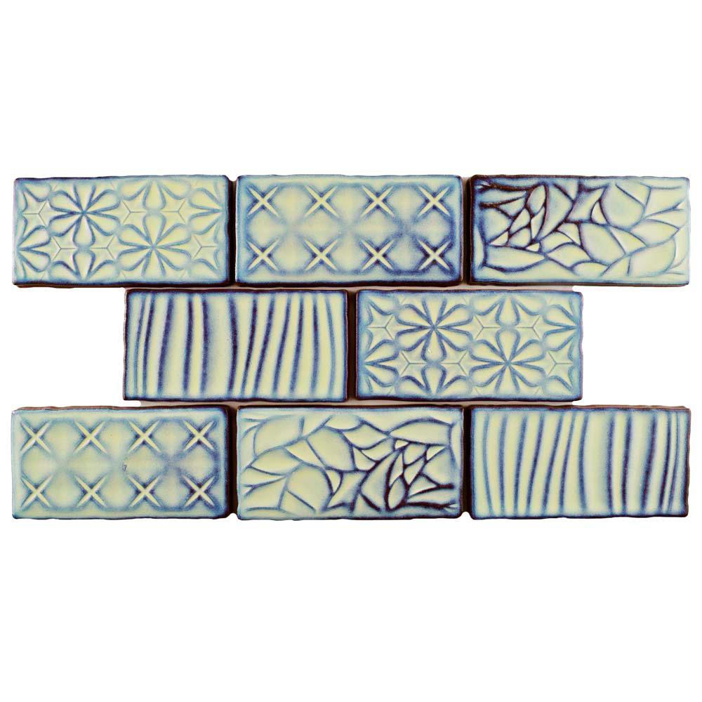 Antic Sensations Agua Marina 3 in. x 6 in. Ceramic Wall Tile (1 sq. ft. / pack)