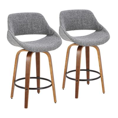 Fabrico 26 in. Walnut and Grey Counter Stool with Black Footrest (Set of 2)