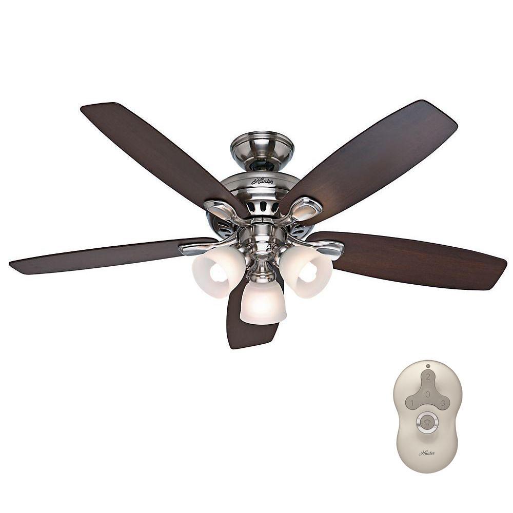 Hunter Highbury 52 in. Indoor Brushed Nickel Ceiling Fan with Light Kit