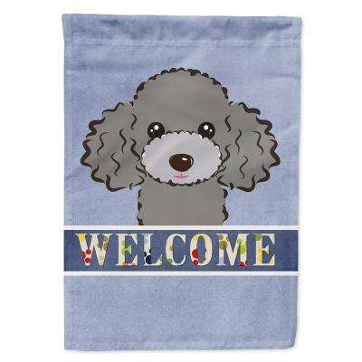 11 in. x 15-1/2 in. Polyester Silver Gray Poodle Welcome Garden Flag  2-Sided 2-Ply