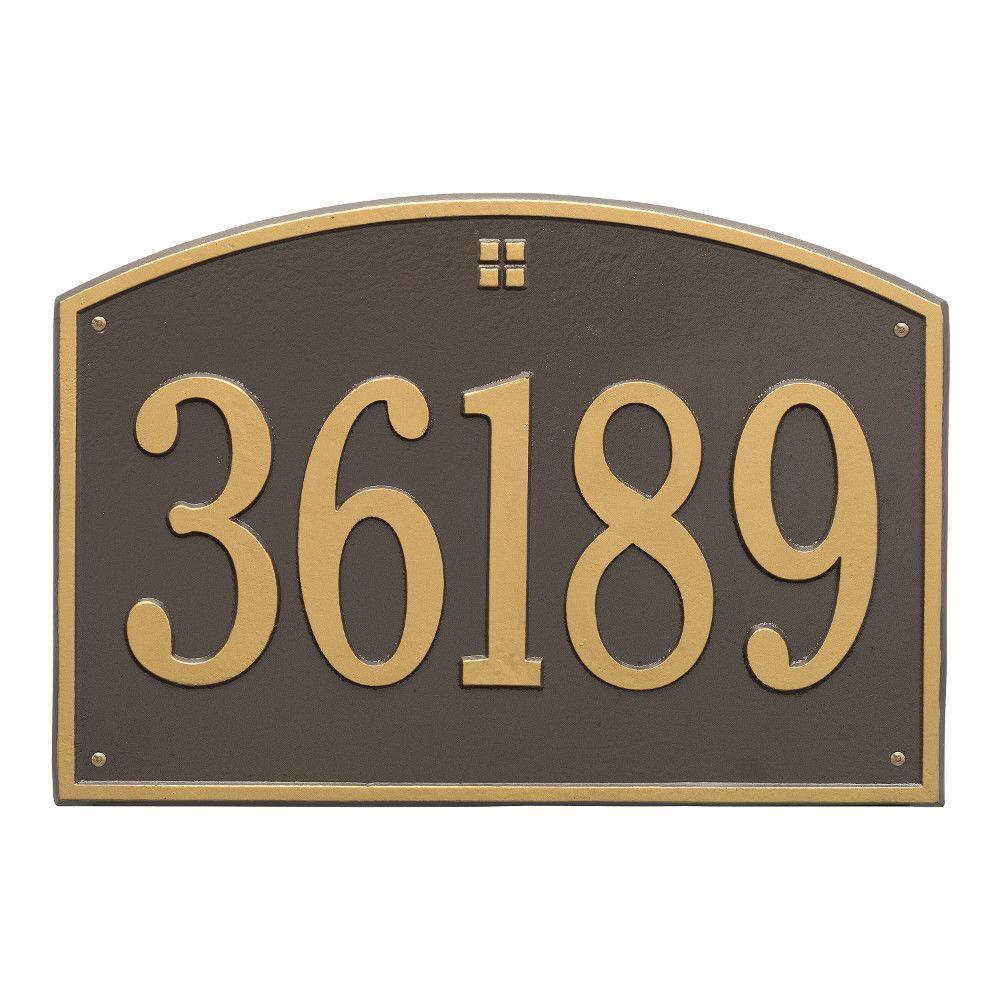 Cape Charles Rectangular Estate Bronze/Gold Wall 1-Line Address Plaque