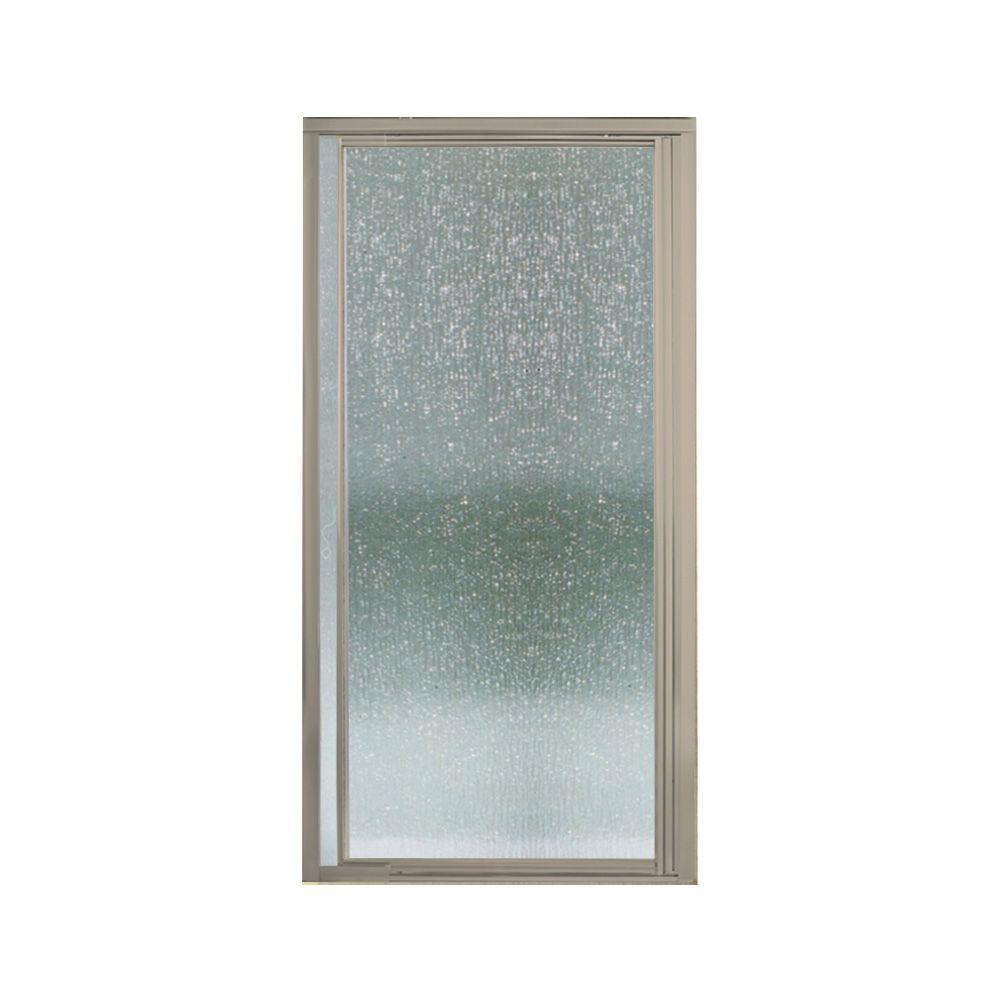 STERLING Vista II 31-1/4 in. x 65-1/2 in. Framed Pivot Shower Door in Nickel with Rain Glass Texture