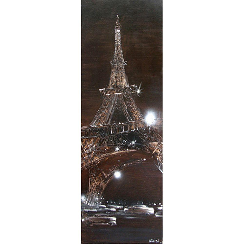 "Yosemite Home Decor 20 in. x 59 in. ""Sparkling Eiffel"" Hand Painted Contemporary Artwork"