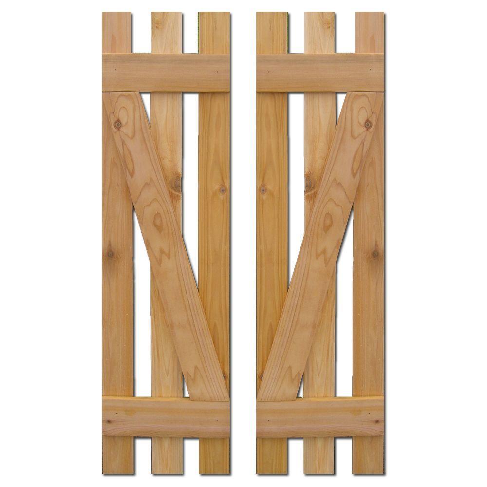 12 in. x 55 in. Baton Spaced Z Board and Batten Shutters (Natural Cedar) Pair