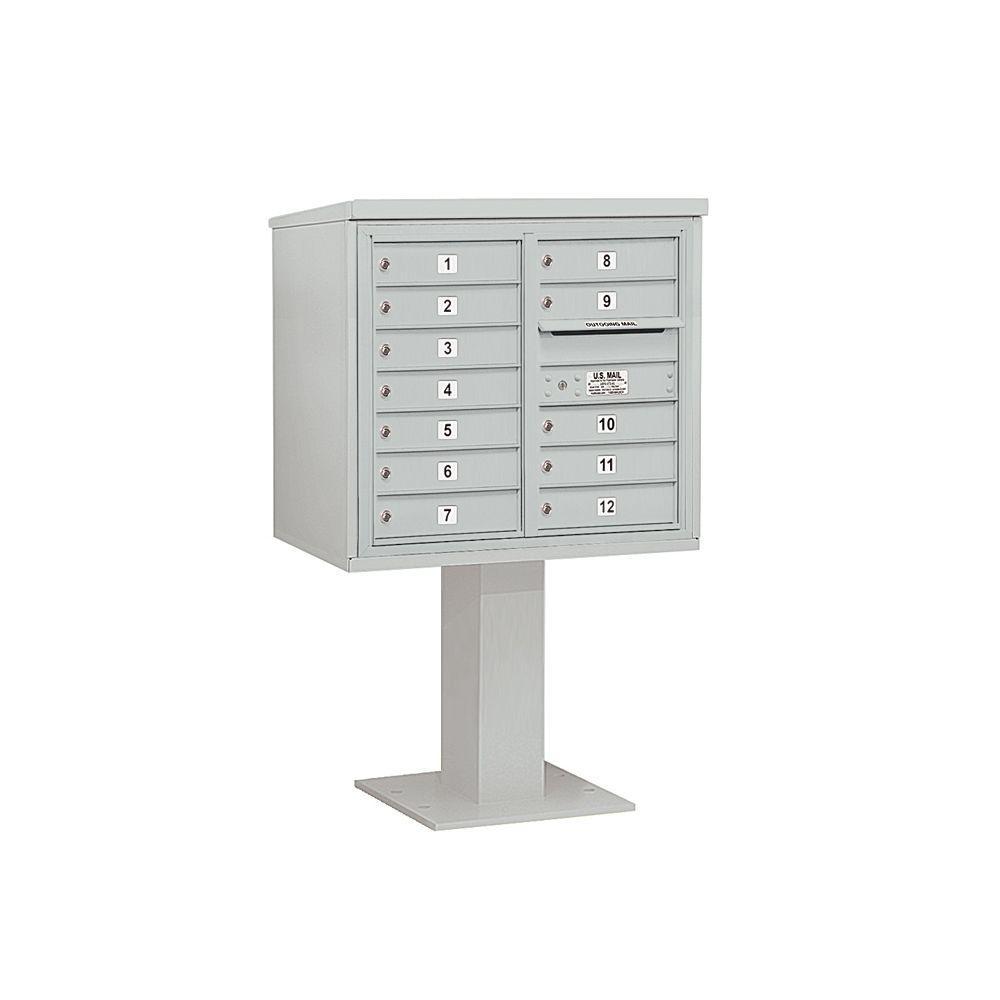 3400 Series 55-1/8 in. 7 Door High Unit Gray 4C Pedestal Mailbox with 12 MB1 Doors