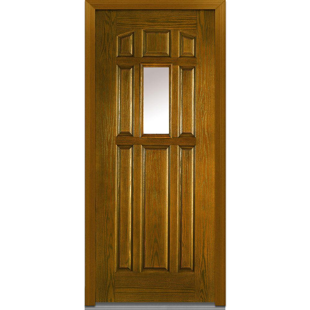 Mmi Door 36 In X 80 In Clear Right Hand 1 4 Lite 8 Panel Classic Stained Fiberglass Oak