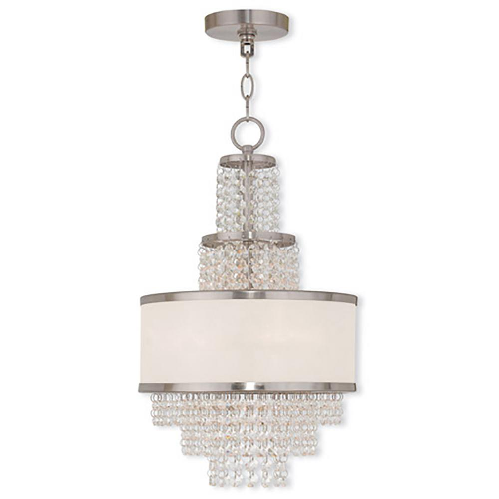 Livex Lighting Prescott 3-Light Brushed Nickel Mini Chandelier with Clear Crystals/ Hand Crafted Off-White Sheer Organza Shade