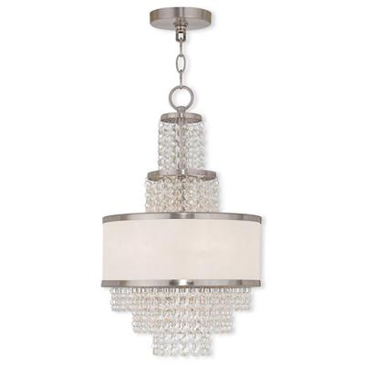 Prescott 3-Light Brushed Nickel Mini Chandelier with Clear Crystals/ Hand Crafted Off-White Sheer Organza Shade