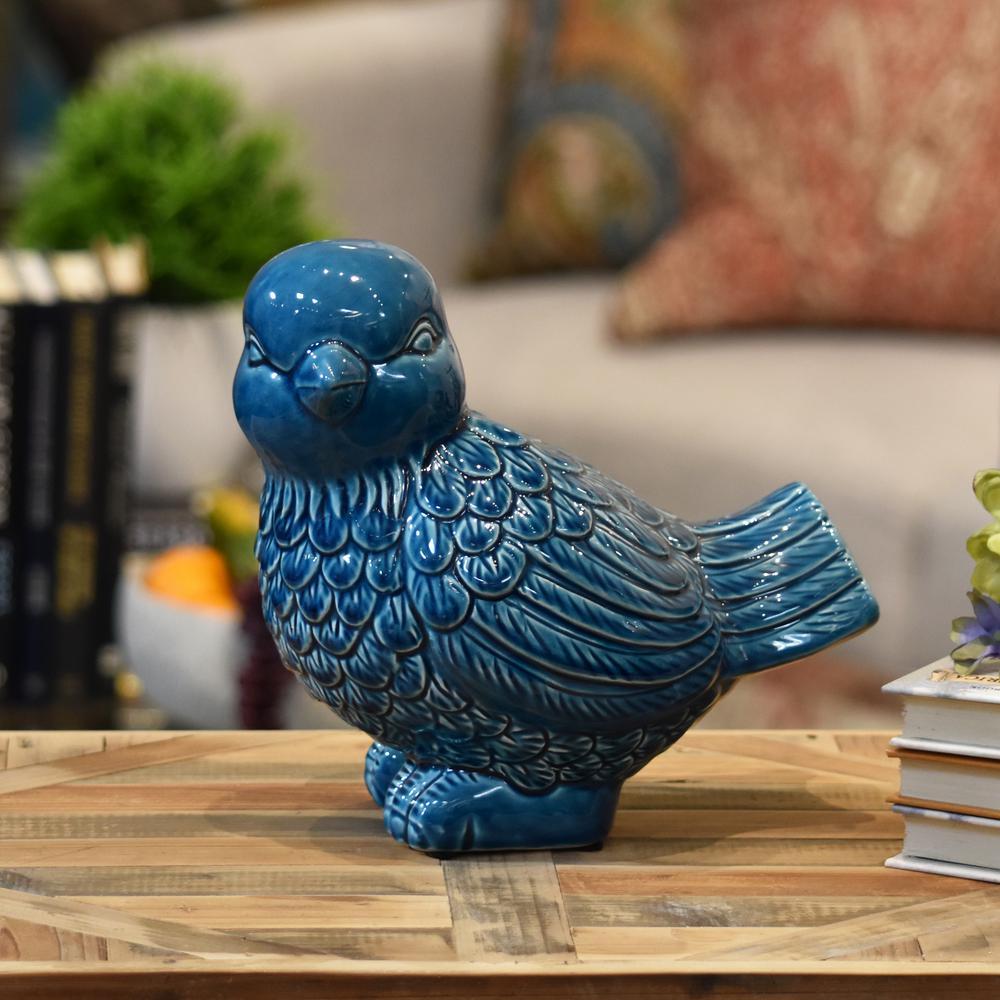 8.25 in. H Bird Decorative Figurine in Turquoise Gloss Finish
