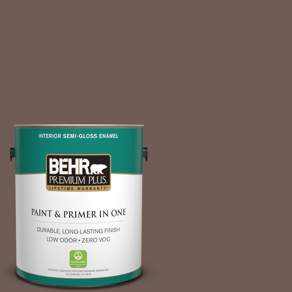 BEHR Premium Plus 1-gal. #750B-6 Tree Bark Zero VOC Semi-Gloss Enamel Interior Paint