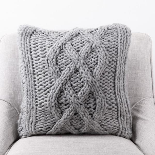 18 in. L x 18 in. W Gray Handmade Acrylic Cable Knit Pillow Cover