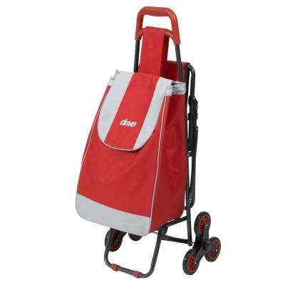 Deluxe Rolling Shopping Cart with Seat in Red