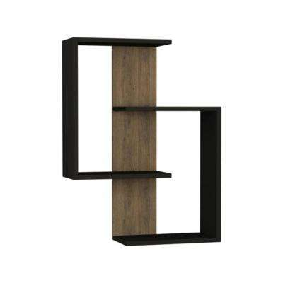 Wendy Anthracite & Light Walnut Mid-Century Modern Wall Shelf