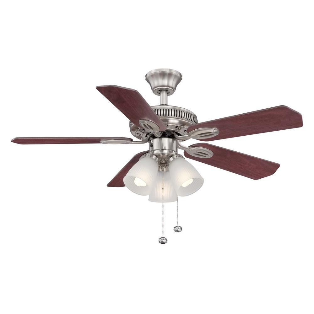 Hugger 52 in led indoor brushed nickel ceiling fan with light kit led indoor brushed nickel ceiling fan with light kit al383led bn the home depot aloadofball Gallery