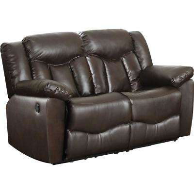 Brown Bonded Leather Motion Loveseat (2-Reclining Seats)
