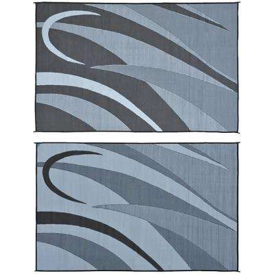 8 ft. x 12 ft. Graphic Black/Silver Reversible Mat
