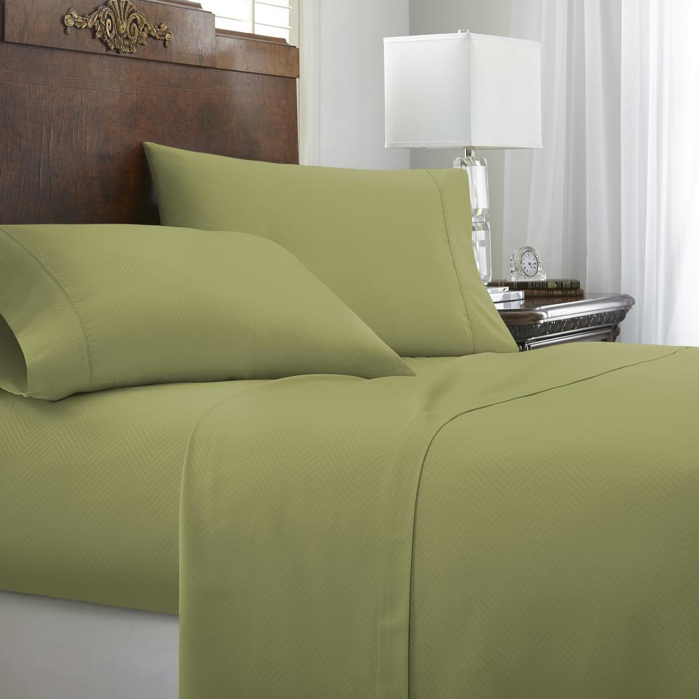Embossed Chevron 4-Piece Sage California King Performance Bed Sheet Set