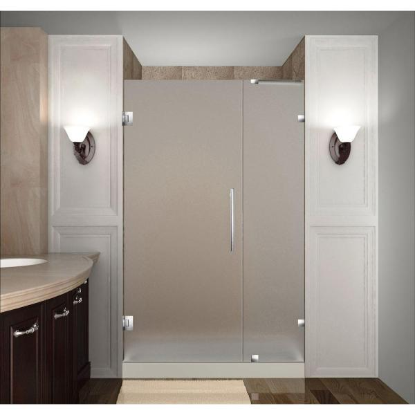 Nautis 35 in. x 72 in. Completely Frameless Hinged Shower Door with Frosted Glass in Stainless Steel