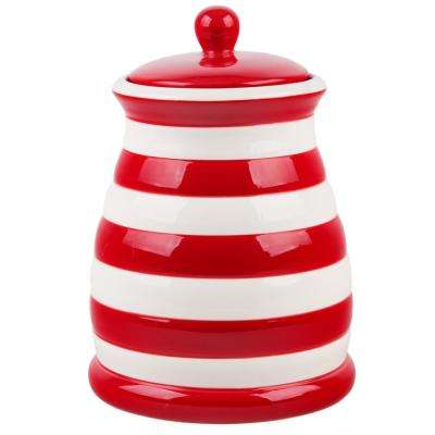 95 oz. Red and White Striped Ceramic Canister