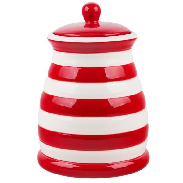 Incroyable HOME ESSENTIALS U0026 BEYOND 95 Oz. Red And White Striped Ceramic Canister